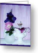 Purple Gladiola Greeting Cards - Full Bloom Greeting Card by Marsha Heiken