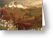 Vineyard Digital Art Greeting Cards - Full mythical landscape Greeting Card by Jeff Burgess