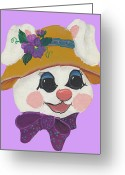 Easter Card Greeting Cards - Funny Bunny Greeting Card by Barbara McDevitt