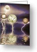 "\""lightning Strike\\\"" Greeting Cards - Galactic storm Greeting Card by Sharon Lisa Clarke"