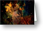 Brushes Digital Art Greeting Cards - Galaxy painted Greeting Card by Andrea Barbieri