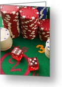 Lucky Greeting Cards - Gambling dice Greeting Card by Garry Gay