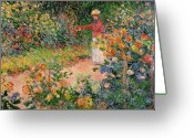 Home Greeting Cards - Garden at Giverny Greeting Card by Claude Monet