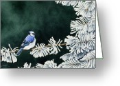 Blue Jay Greeting Cards - Geai bleu no. 2 Greeting Card by Caroline Boyer