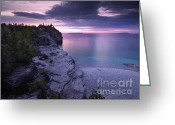 Colours Greeting Cards - Georgian Bay Cliffs at Sunset Greeting Card by Oleksiy Maksymenko