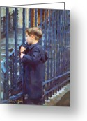 Signed Greeting Cards - German Boy Greeting Card by Chuck Staley