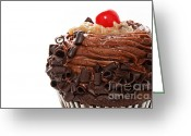 Chocolate Fudge Greeting Cards - German Chocolate Cupcake 2 Greeting Card by Andee Photography
