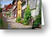 Middle Ages Greeting Cards - German old village Quedlinburg Greeting Card by Heiko Koehrer-Wagner