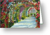 Oil Canvas Greeting Cards - Germany Baden-Baden Rosengarten Greeting Card by Yuriy  Shevchuk