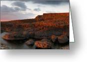 Northern Ireland Greeting Cards - Giants Causeway at Sunset Greeting Card by David Cordner