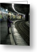 Wait Greeting Cards - Girl In Station Greeting Card by Joana Kruse