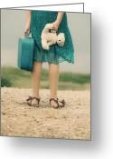 Kid Photo Greeting Cards - Girl In The Dunes Greeting Card by Joana Kruse