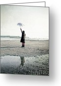 Melancholic Greeting Cards - Girl on the beach with parasol Greeting Card by Joana Kruse