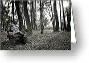 Back-light Greeting Cards - Girl sitting on a wooden bench in the forest against the light Greeting Card by Joana Kruse
