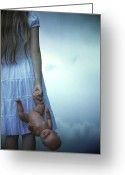 Doll Greeting Cards - Girl With Baby Doll Greeting Card by Joana Kruse