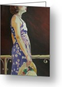 Flowered Dress Greeting Cards - Girl With Hat Greeting Card by Thomas MACMILLAN