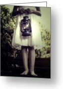 Oil Lamp Greeting Cards - Girl With Oil Lamp Greeting Card by Joana Kruse