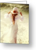 Windy Greeting Cards - Girl With Sun Hat Greeting Card by Joana Kruse