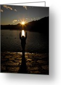 Back-light Greeting Cards - Girl With Sunset Greeting Card by Joana Kruse