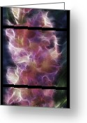 Polyptych Greeting Cards - Gladiola Nebula Triptych Greeting Card by Peter Piatt