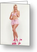 Full Skirt Photo Greeting Cards - Glamorous Girl on Roller Skates Greeting Card by Oleksiy Maksymenko