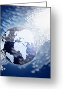 Future Tech Greeting Cards - Globe With Fiber Optics Greeting Card by Setsiri Silapasuwanchai