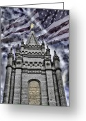 Salt Lake City Temple Photo Greeting Cards - God Bless America Greeting Card by La Rae  Roberts