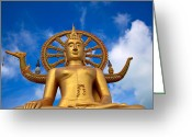 Face Greeting Cards - Golden Buddha Greeting Card by Adrian Evans
