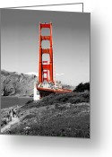 Biking Greeting Cards - Golden Gate Greeting Card by Greg Fortier
