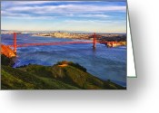 Alcatraz Greeting Cards - Golden Gate Sunset 1. Greeting Card by Laszlo Rekasi