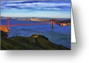 Alcatraz Greeting Cards - Golden Gate Sunset 2. Greeting Card by Laszlo Rekasi