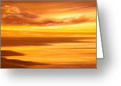  Originals Greeting Cards - Golden Panoramic Sunset Greeting Card by Gina De Gorna