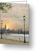 Clouds Framed Prints Greeting Cards - Good Morning New York Greeting Card by Thomas York