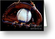 Baseball Mitt Greeting Cards - Good Times Greeting Card by Lj Lambert