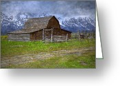 Pioneer Park Greeting Cards - Grand Teton Iconic Mormon Barn Fence Spring Storm Clouds Greeting Card by John Stephens