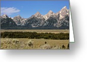 Mountain Ranges Greeting Cards - Grand Teton WY Greeting Card by Christine Till