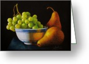 Pencil On Canvas Greeting Cards - Grapears Greeting Card by Bleuie  Acosta