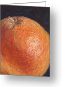 Surface Pastels Greeting Cards - Grapefruit Greeting Card by Susan Singer