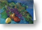 Red Leaves Pastels Greeting Cards - Grapes and Pears Greeting Card by Antonia Citrino