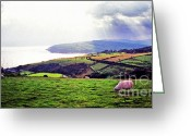 Northern Ireland Greeting Cards - Grazing Sheep County Antrim Greeting Card by Thomas R Fletcher