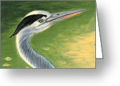 Wildlife Art Ceramics Greeting Cards - Great Blue Heron Greeting Card by Dy Witt
