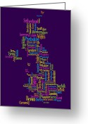 United Kingdom Greeting Cards - Great Britain UK County Text Map Greeting Card by Michael Tompsett