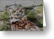 Edmonton Greeting Cards Posters Greeting Cards - Great Horned  Greeting Card by Jerry Cordeiro