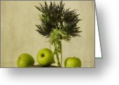 Still Life Greeting Cards - Green Apples And Blue Thistles Greeting Card by Priska Wettstein