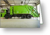 Blue Collar Greeting Cards - Green Garbage Truck Maintenance Greeting Card by Don Mason