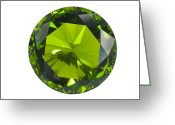 Precious Gem Greeting Cards - Green Gem Isolated Greeting Card by Atiketta Sangasaeng