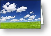 Crops Greeting Cards - Green rolling hills under blue sky Greeting Card by Elena Elisseeva