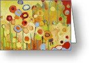 Gold Painting Greeting Cards - Growing in Yellow No 2 Greeting Card by Jennifer Lommers