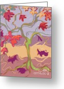 Fall Whimsical Digital Art Greeting Cards - Growth is Bittersweet Greeting Card by Janet Vanderhoof