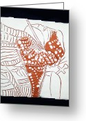 Africa Tiles Ceramics Greeting Cards - Guardian Angel - tile Greeting Card by Gloria Ssali